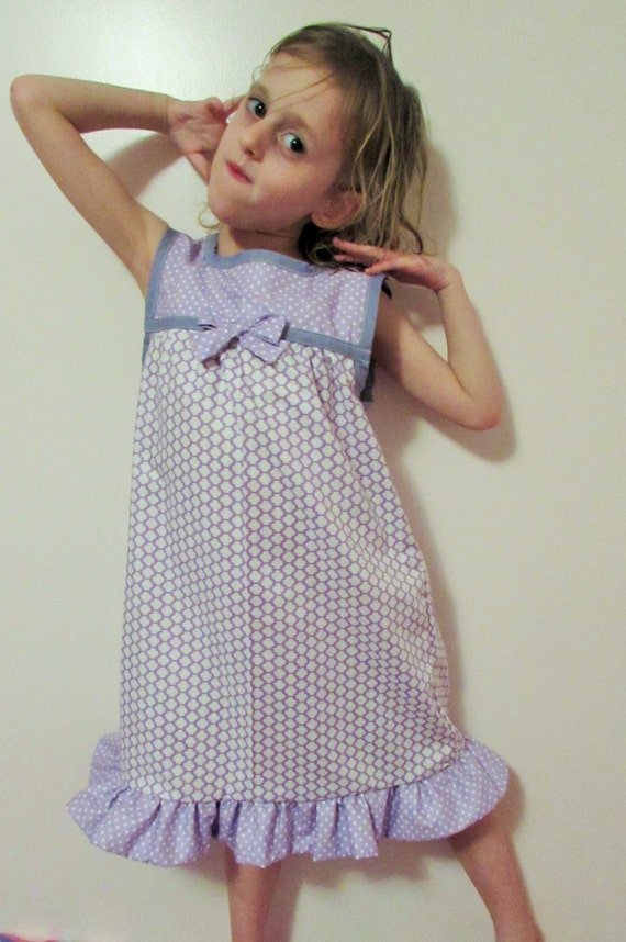 Girls nightgown / cotton nightgown / toddler nightgown / summer nightgown/purple or pink / polka dot and flowers