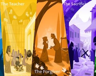 Life Of Christ Church Banner, Christian Banners, Church Banners, Sunday School Banners, Christian Wall Art, Jesus Art, Jesus Christ Banners