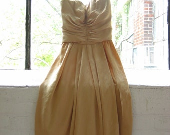 Teen Champagne Silk Strapless Dress Anne Klein Prom Dress Real Silk Ruched Front