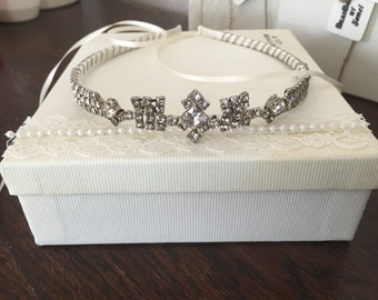 Bridal rhinestone tiara - A unique handmade tiara - Statement piece be sure to stand out