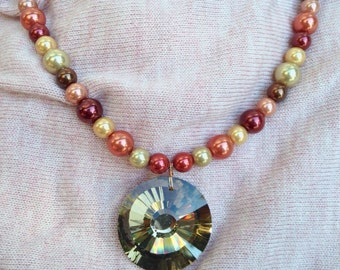 Faux Chocolate Diamond Pearl Necklace Fall Colors
