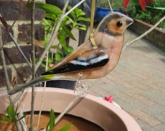 Chaffinch fused glass bird