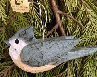 Hand Carved Bird Ornament (Titmouse)