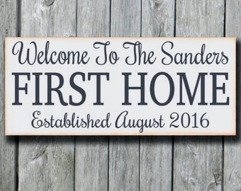 Our First Home Sign,Personalized Welcome House Plaque,Wedding Gift,Custom Family Name Established Date,New Home Housewarming Gift,Newlywed