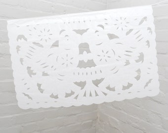 White Bunting from Mexico - Papel Picado - Perfect for Weddings & Parties