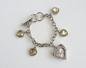 Vintage Heart Watch, Bracelet Watch, Charm Bracelet Watch, Citrine Yellow Crystal Hearts, Rhinestone Accents, Toggle Clasp, Valentines Day