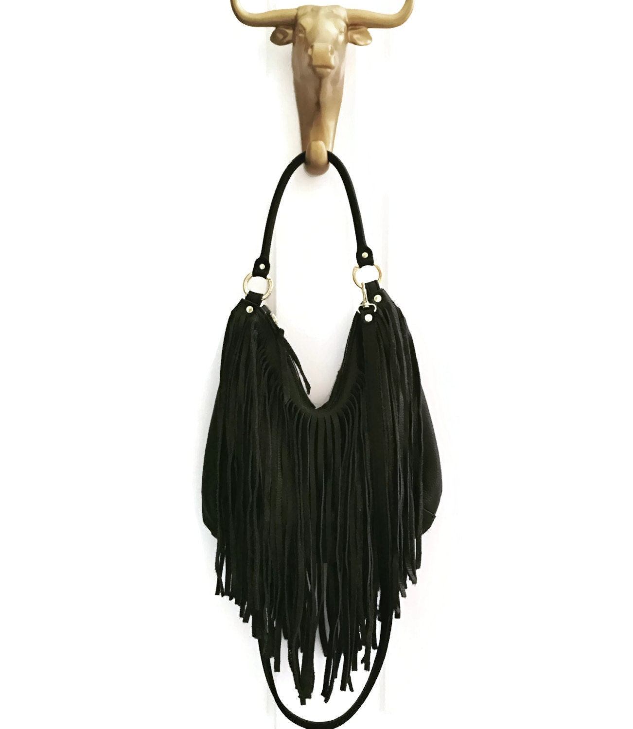 Black Fringe Hobo Handbag // Crossbody // Convertible Bag ...