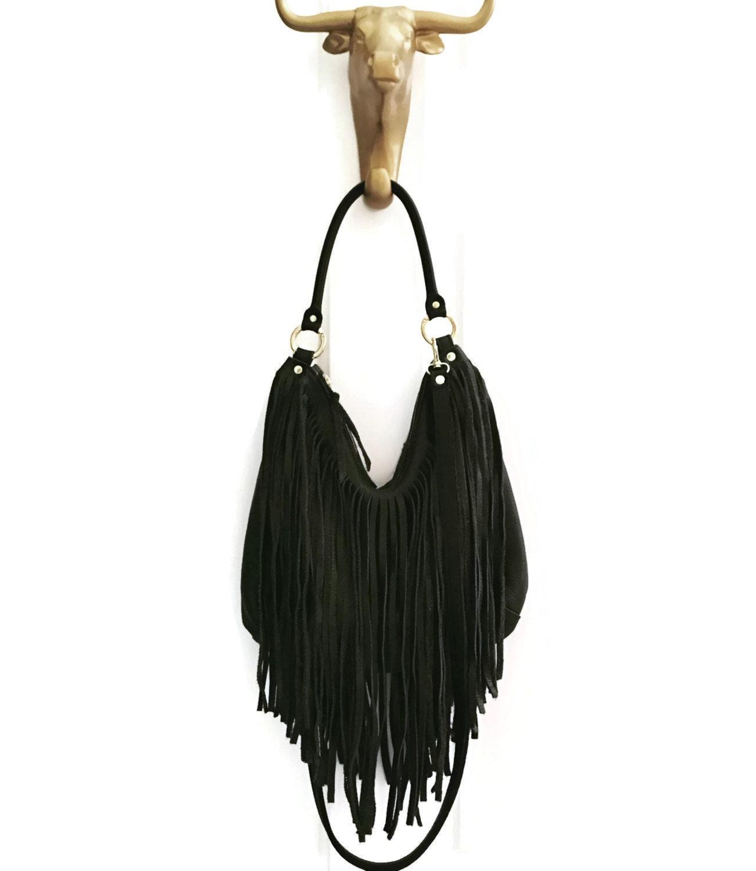 Black Fringe Hobo Handbag // Crossbody // Convertible Bag ...