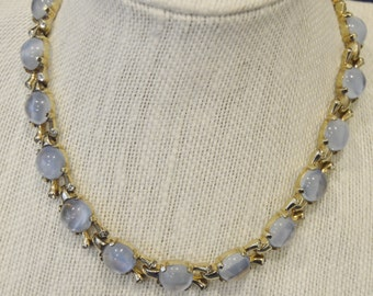 Vintage Mazer Bros Blue Opalescent and Rhinestone Choker Necklace