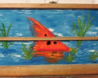 Hand Painted Window, Redfish, Fish Painting, Sea Life Painting, Painted Window, Repurposed Window, Home Decor, Wall Decor