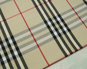 Cotton Blend Fabric Beige Plaid By The Yard