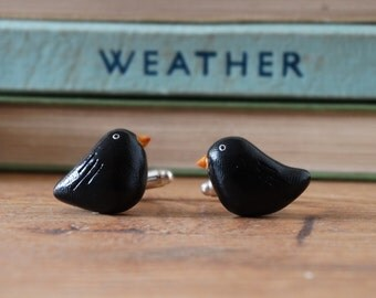 By the Shed Blackbird Cufflinks - Rhodium Plated - Garden Birds - Allotment - Gardening - Bird Watching - Unique Gift - Black - Sparrow