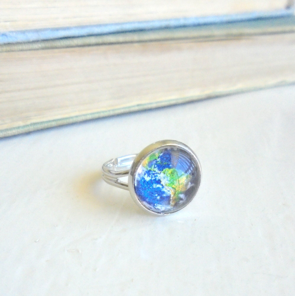 earth ring space ring earth jewelry galaxy jewelry