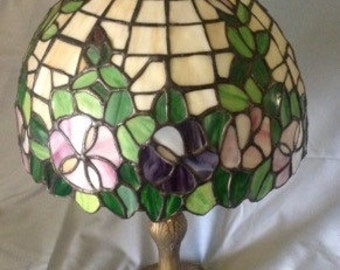 Vintage antique Tiffany style stained glass lamp floral