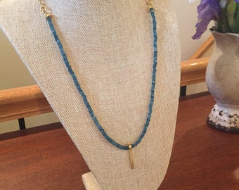 Beautiful blue apatite gemstone necklace with brushed gold charm