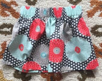 Everyday Flower Skirt- Toddler/Girls - Flowers- grey, coral, blue, orange, yellow, brown
