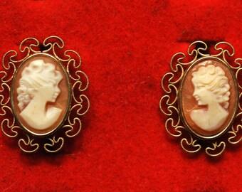 vintage Krementz gold overlay and shell cameo screw back earrings, 1950s