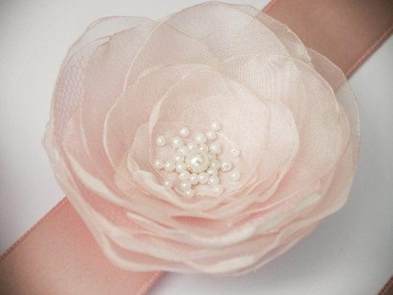 Blush Pink Flower Bridal Sash, Pale Pink Sash, Bridal Gown Sash, Blush Pink Belt, Flower Girl sash, Wedding Sash, bridesmaid sash, pink belt by NLcreation