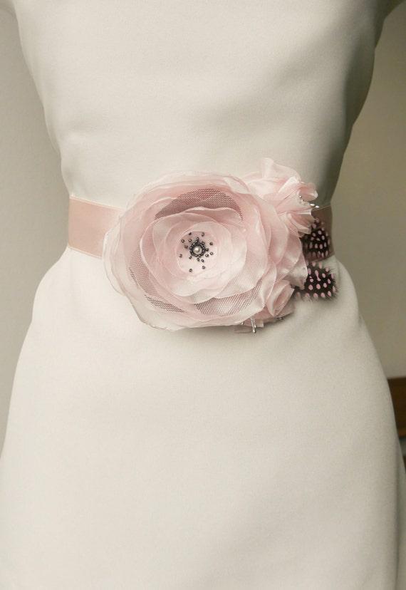 Pink Wedding Dress Sash : Blush pink flower bridal sash wedding by