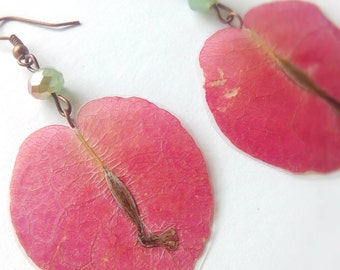 Real Flower Jewelry- Bougainvillea Earrings- Botanical Jewelry- Pressed Flowers- Hand Crafted- Nature Jewelry