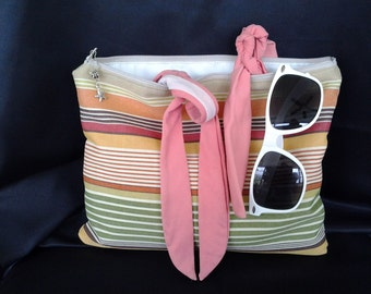 Wet bag striped wet bag bathing suit bag beach bag beach clutch BBsCustomClutches