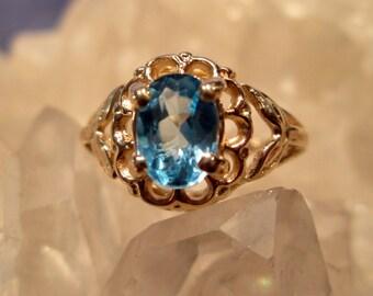 Blue Topaz Ring ~14K Yellow Gold~ Hand Cast