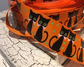 "7/8"" Black Halloween Cat Kitten on Orange grosgrain"