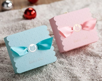 Set of 40 - Baby Shower favour box, Birthday party box, Blue Pink Baby Boy Baby Girl Bomboniere, Lolly/candy box, Box with ribbon
