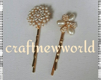 A pair of bridal gold hair pins with pearls.  Wedding hair accessory.  Wedding hair pins.