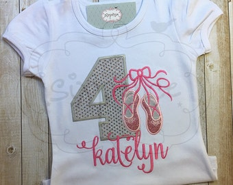 Ballerina Birthday | Shirt or Bodysuit | Custom Appliquéd & Embroidered | Personalized | Dance Shirt | Ballet Outfit | By Sixpence