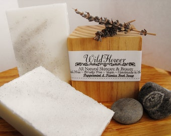 Peppermint and Pumice Stone Foot Scrub Soap, Cruelty Free and Paraben Free, Vegan.