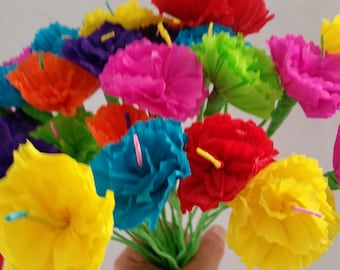 Cinco de Mayo, Day of the Dead, 10 Crepe Paper Flowers, Dia de Los Muertos, Mexican Flowers, Fiesta Decorations, Altar Flowers, Luau