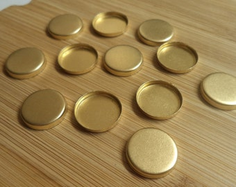 15mm round brass closed back high wall bezel cup settings 12 pc lot l