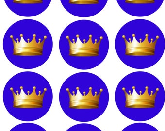 Blue with Gold Crown Edible Image Cupcake Toppers
