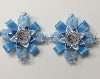 Disney Inspired Frozen Queen Elsa and Prince Anna Hairclips