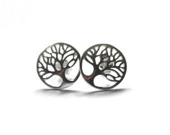 Tree of life earrings - Sterling silver stud earrings - Simple silver earrings - Tree stud earrings - Everyday earrings