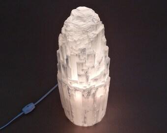 Selenite Tower Lamp Light