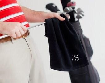 Personalized Black Golf Towel * Golf Towels with Monogram *  Towel with Monogrammed Initials * Custom Bridesmaid or Groomsmen Gift