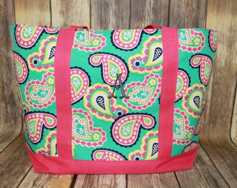 Monogrammed Paisley Tote Bag