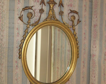 Elegant,Antique Neo Classical Gold Gilt Mirror with Decorative Urn and Floral Swags...
