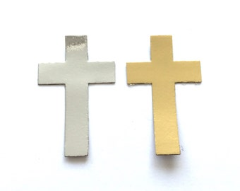 16 Gold & Silver Cross Die Cuts for Religious Cards Card Toppers Cardmaking Scrapbooking Craft Project