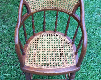Antique  Child's Highchair or doll chair with caned seat