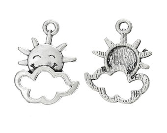 4 Happy Sun Charms Sun with Cloud Pendants Sunshine Charms Smiling Sun 4305