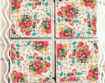 Soft Floral Tile Coasters