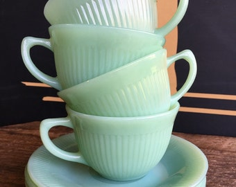 1950's Fire King Jadeite Jane Ray Tea Cups & Saucers
