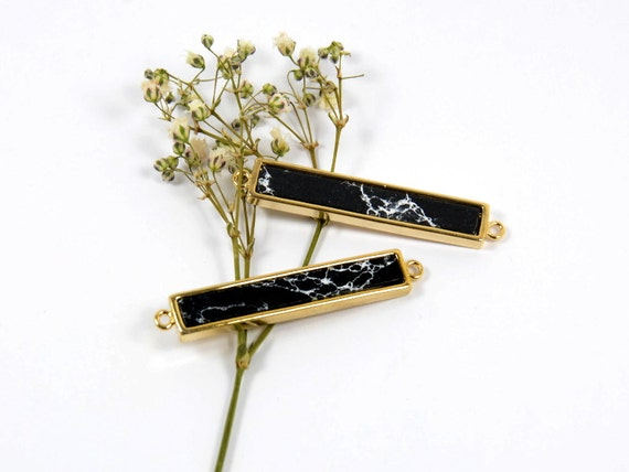 Black Gemstone Connector/ Pendant with Black Marble Stone in Anti-tarnish Gold Plating  - 2 pcs/ order