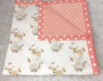 Woodland Fawn with Quartz pink minky & tulip polka dot cotton trim around the edge make this baby's favorite blanket!