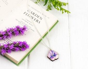 Water Colour Viper Bugloss Flower Pendant Necklace