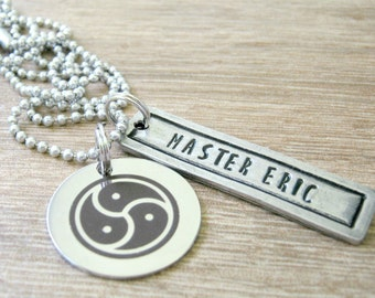 Personalized BDSM Master Necklace, Bdsm Symbol Necklace, Master's Necklace, Pewter bar, Daddydom gift, Dom gift, holds 14 characters max