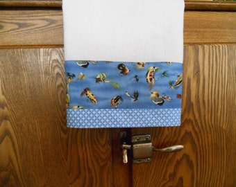 Flour Sack Dish Towel with Fly Fishing Lures Print